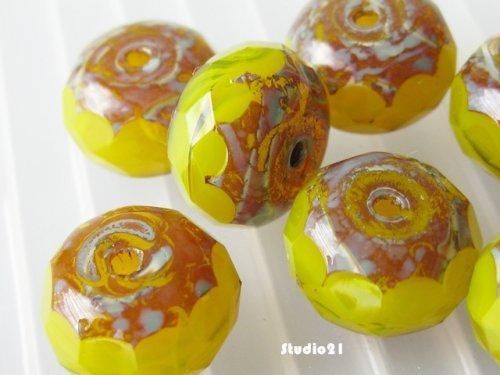 10 pcs of Yellow Opal Czech Faceted Rondelle Glass Bead