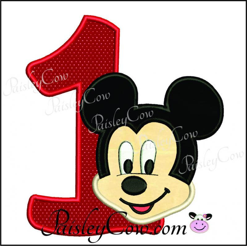 Mickey Mouse 1 One First Birthday Applique By Paisleycow