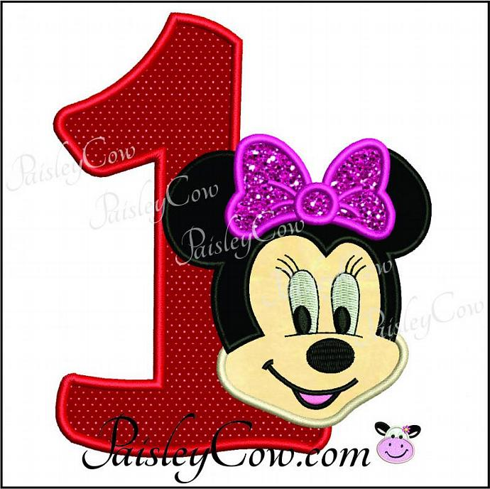 Minnie Mouse one first birthday applique PaisleyCow