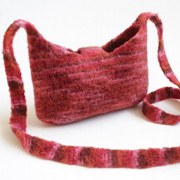 Felted Tablet Bag. Merino Wool Cross Body Shoulder Bag. Unlined Handbag.
