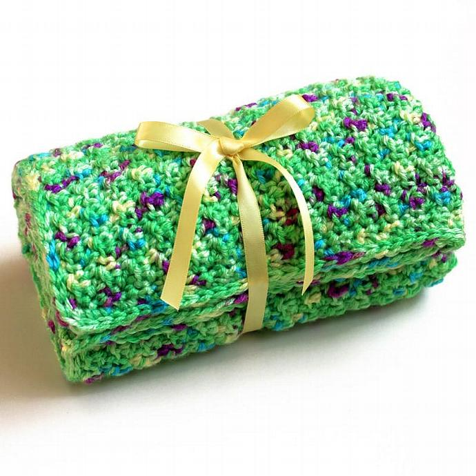 Green Car Seat Cover Without Holes. Travel Size Baby Blanket. Infant Crochet