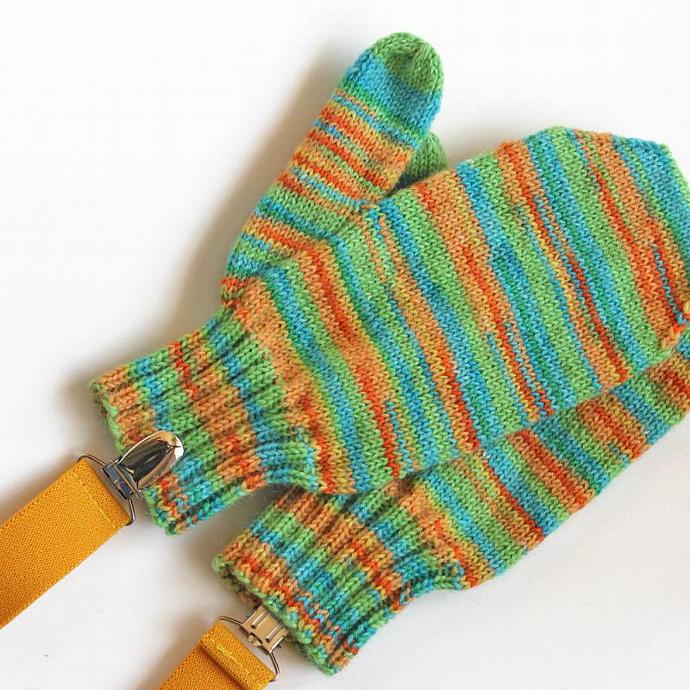 Unisex Kids 6 to 8 Years Green Yellow Orange Mittens With Clips. Childrens
