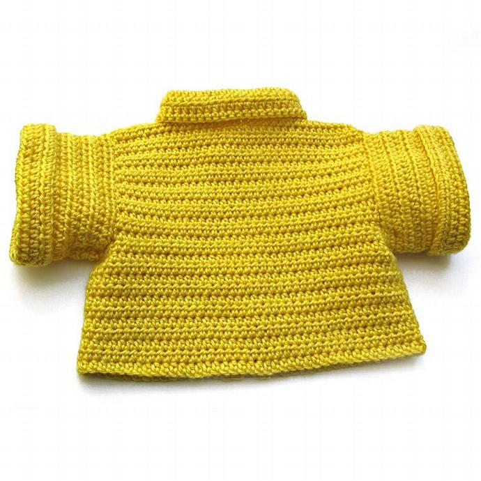 Toddler Bright Yellow Short Sleeve Cardigan Sweater. Kid 12 to 18 Months. Swing