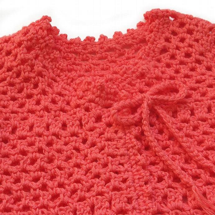 Toddler Short Sleeve Lightweight Sweater. Lacy Coral Crochet Topper. Toddler 2