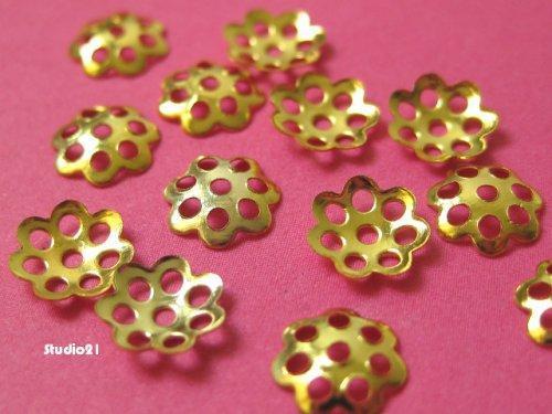100 pcs of Bright Gold Finish Mini Flower 6mm Bead Cap