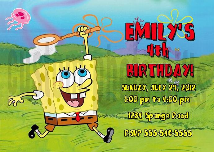 Spongebob Squarepants Personalized Custom Birthday Invitation Digital File You