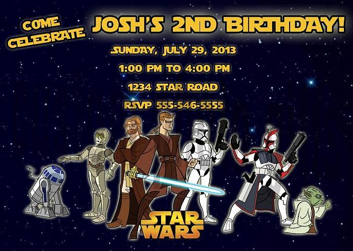 Star Wars Personalized Custom Birthday Invitation Digital File, You Print