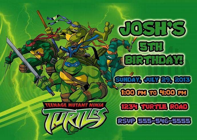 Teenage Mutant Ninja Turtles Personalized Custom Birthday Invitation Digital