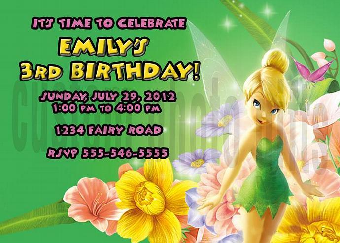 Tinkerbell Personalized Custom Birthday Invitation Digital File, You Print