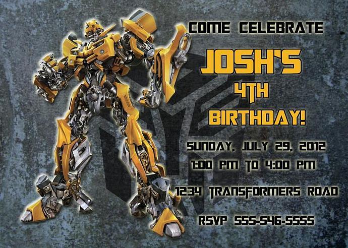Transformers Bumblebee Personalized Custom Birthday Invitation Digital File, You