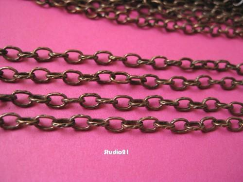 5 feet of Red Copper Finish Texture Oval Cross Chain
