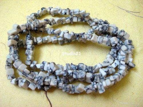 32 Inch of White Turquoise Chips - Manmade
