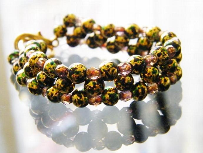 Green and Gold Bracelet Beaded Swarovski Crystal