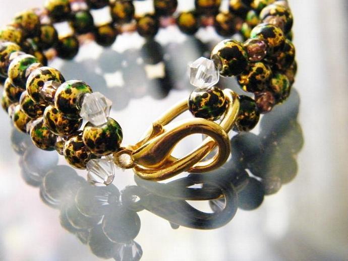 Green and Gold Bracelet Beaded Swarovski Crystal