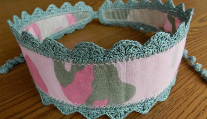 Girly Camo Print Headband Pink Green Crocheted Trim and Ties