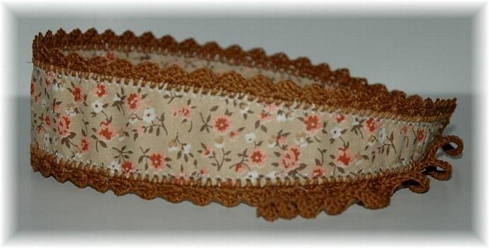 Brown Headband, Crochet Trim and Ties