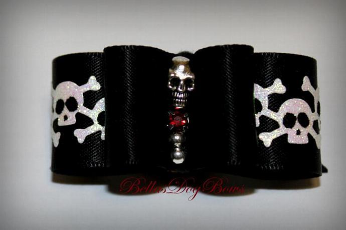 Skulls Double Loop Halloween Dog Bow