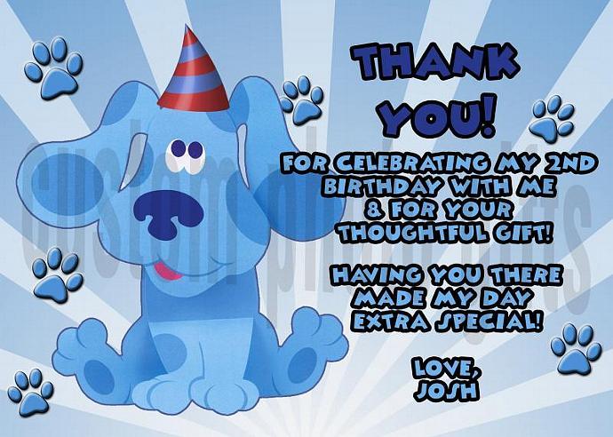Blues Clues Personalized Custom Birthday Thank You Card Digital File, You Print
