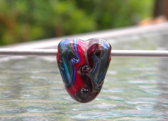 Heart shaped  lampwork glass bead