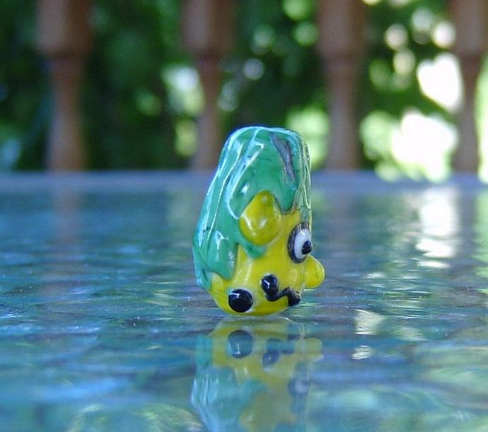 lampwork focal Green monster bead