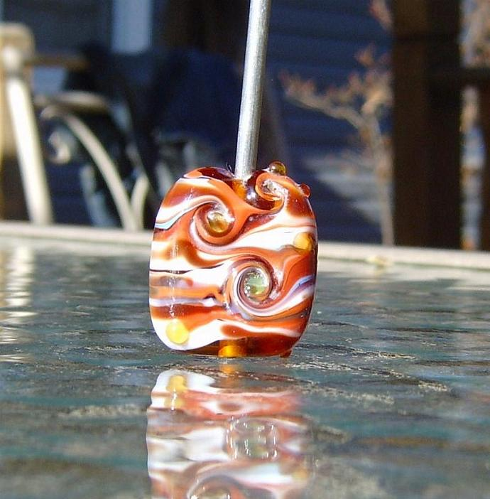 Lampwork  pillow shaped focal bead