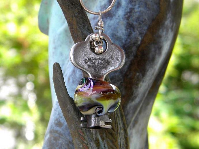 Key with lampwork glass bead necklace