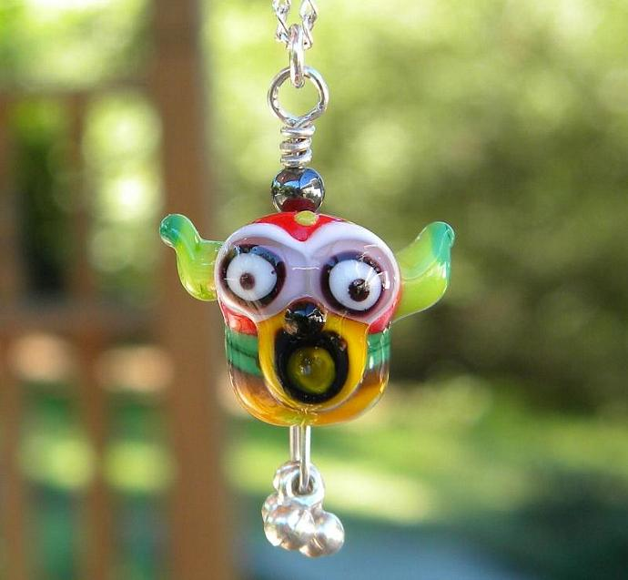 Lampwork bead monster face necklace