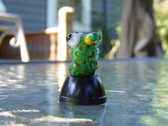 Lampwork focal Green horned monster bead