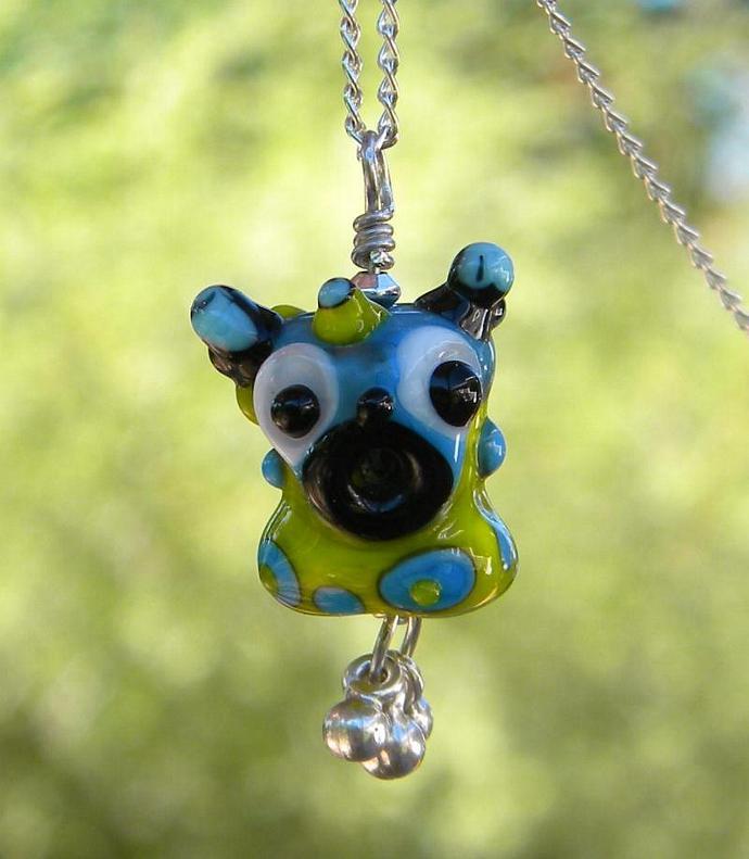 Monster lampwork bead necklace