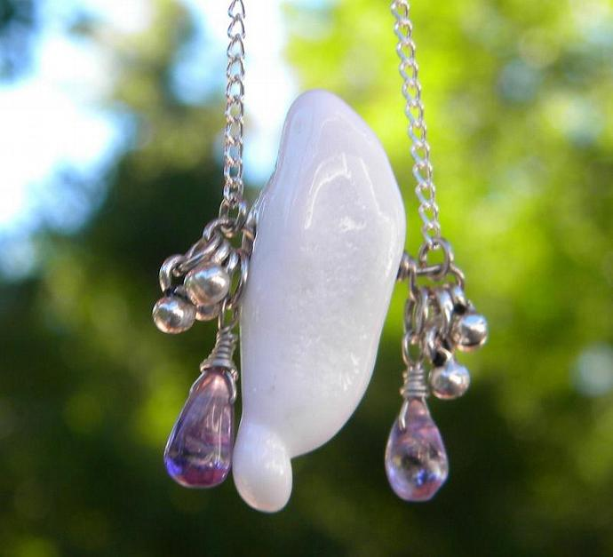 Ghost glass bead with crystals necklace