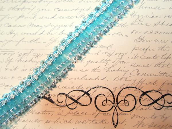 """1yd Gathered Ruffled Lace - 1"""" Turquoise stl"""