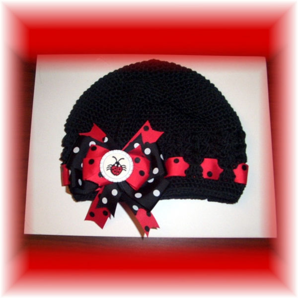 Crocheted Black Beanie Cap Red Polka Dot LADYBUG FREE SHIPPING