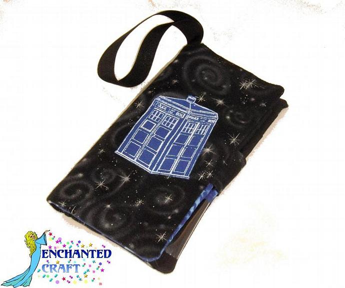 large fabric wallet for Doctor Who fan- tardis in the sky