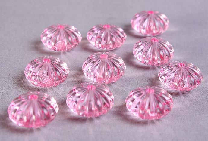 10 pastel pink acrylic melon oval lucite bead 14x9mm 10pcs (736)