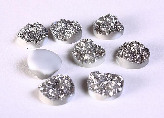 8 Silver round resin cabochon 12mm - Faux druzy cabochon - Faux drusy cabochon -