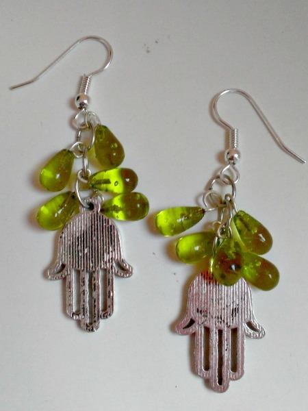 Green Glass Hamsa Earrings - Hand of Fatima used for protection