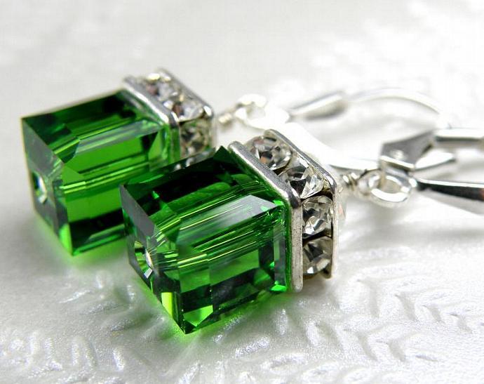 f77d341c3 Green Earrings, Light Emerald Green Crystal Earrings, Green Tourmaline Swarovski  Crystal, Green Cube Earrings, Sterling Silver, Bridesmaid Wedding Fashion  ...