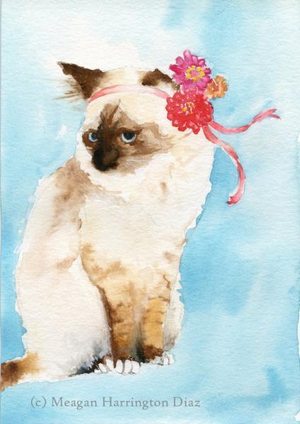 Cat Art - A Kitty Named Zinnia - Cat Watercolor Print - Nursery Art
