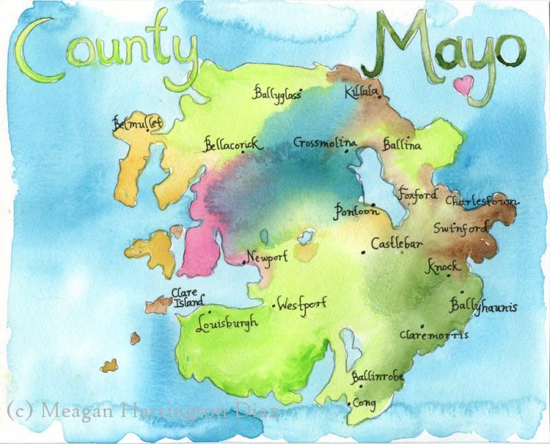 Map Art Ireland Map County Mayo By Dustyshamrockstudio On Zibbet