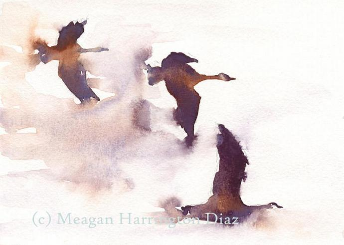 Bird Painting - Flying Geese - Fine Art Print - 5x7 Geese Watercolor