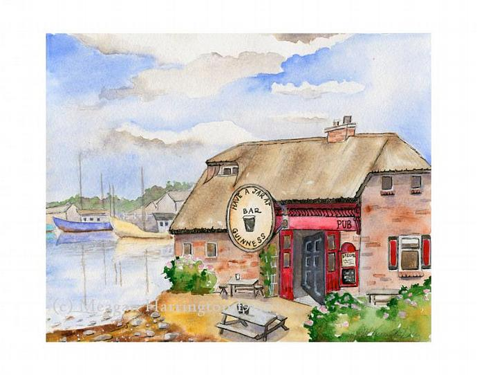 Personalized Pub Painting - Custom Painting - 11 x 14  - Pub on the Beach -