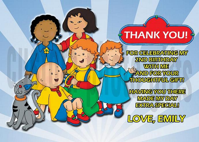 Caillou Personalized Custom Birthday Thank You Card Digital File, You Print
