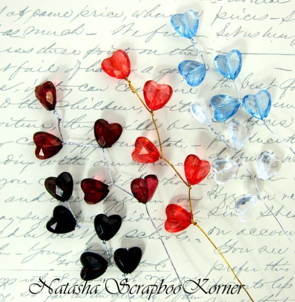 Crystal Hearts Beaded Spray - 5pcs