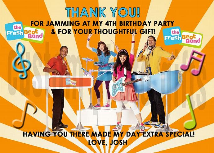 Fresh Beat Band Personalized Custom Birthday Thank You Card Digital File, You