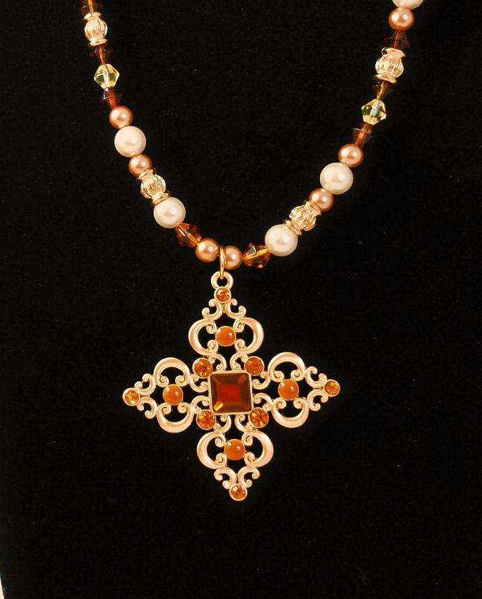 Amber Crystal Cross Necklace