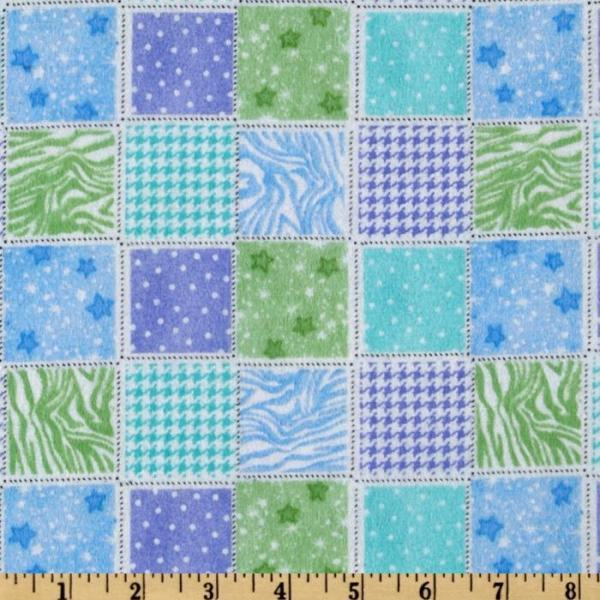 Baby Girl Blue and Purple Patchwork Fitted Crib Sheet
