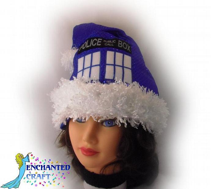 Confetti Dot TaRDIS SANTA hat for the Doctor who fan