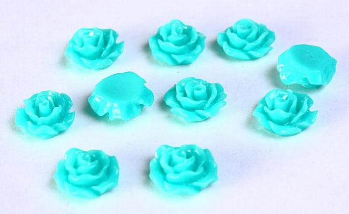10pc Lucite rose resin flower cab cabochon teal 11mm 10 (786)
