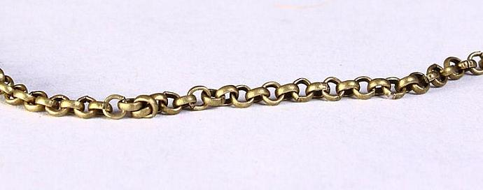 2mm antique brass antique bronze cross chain unsoldered - lead and nickel free -