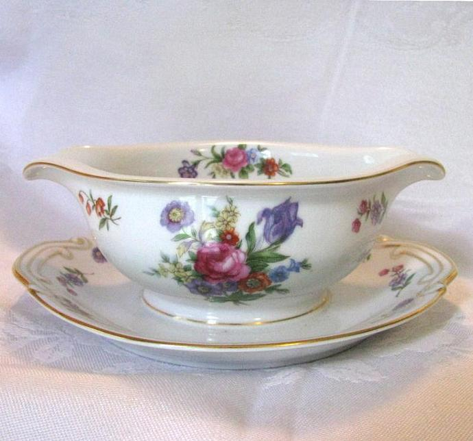 Wentworth China 1970 Vintage Gravy Boat with Attached Underplate, Dresden